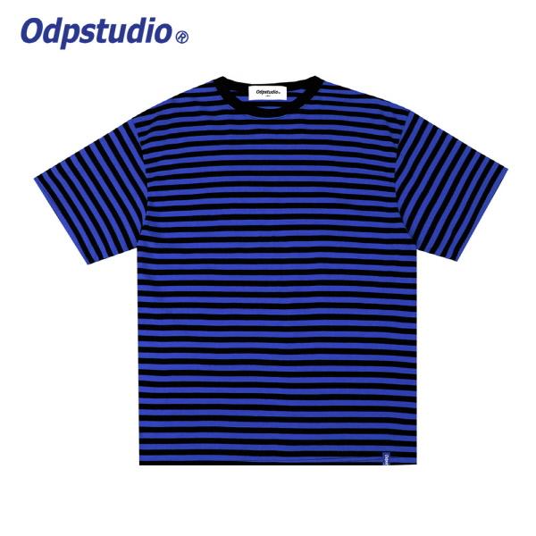 스트라이프 슬리브 반팔티셔츠 블루