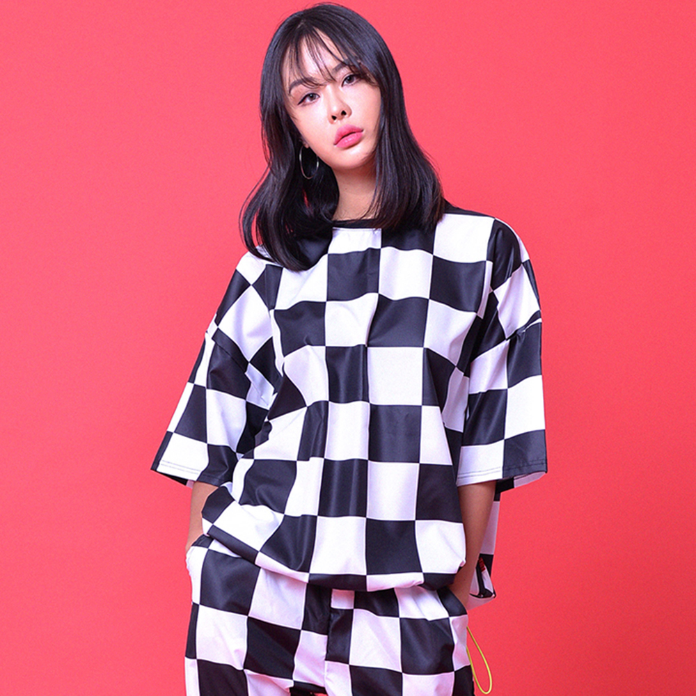 CHECKERBOARD OVER-FIT TRACK TOP(unisex)