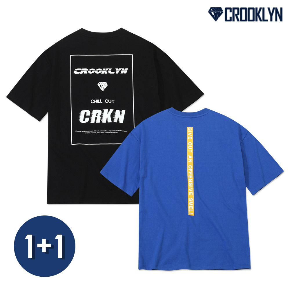 [1+1] [단독상품][크루클린]  그래픽 반팔 티셔츠 패키지