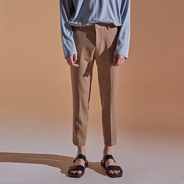 [DEANS] TAPERED CROP COTTON PANTS_BEIGE