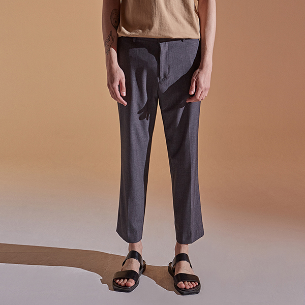 [DEANS] SEMI WIDE CROP SLACKS_GRAY