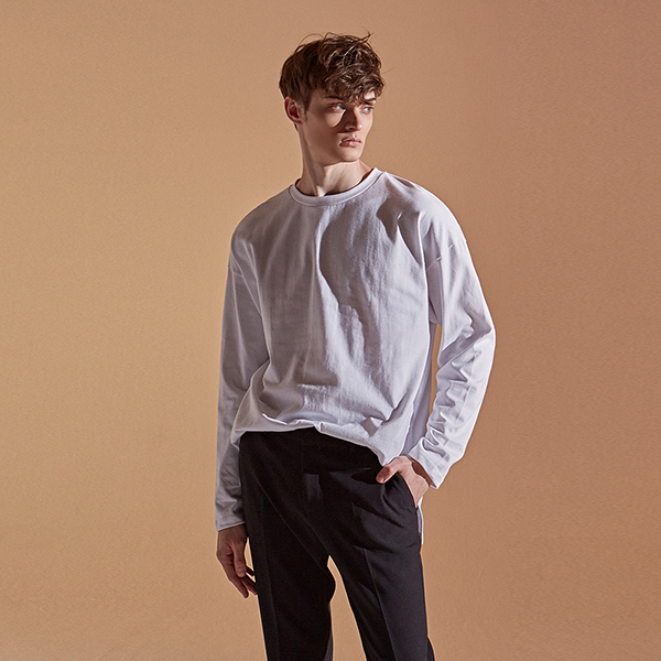 [DEANS] SOLID SLIT LONG T-SHIRTS_WHITE