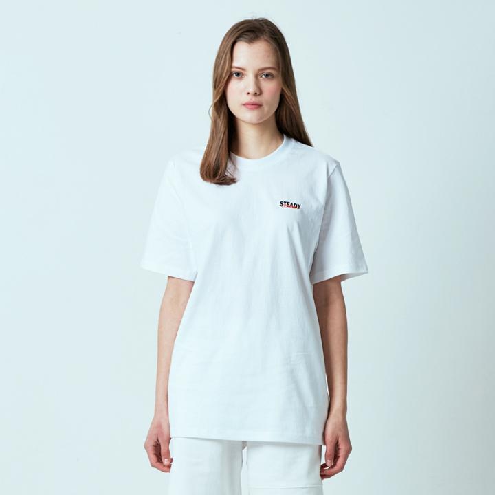 오버랩 로고 티셔츠 화이트