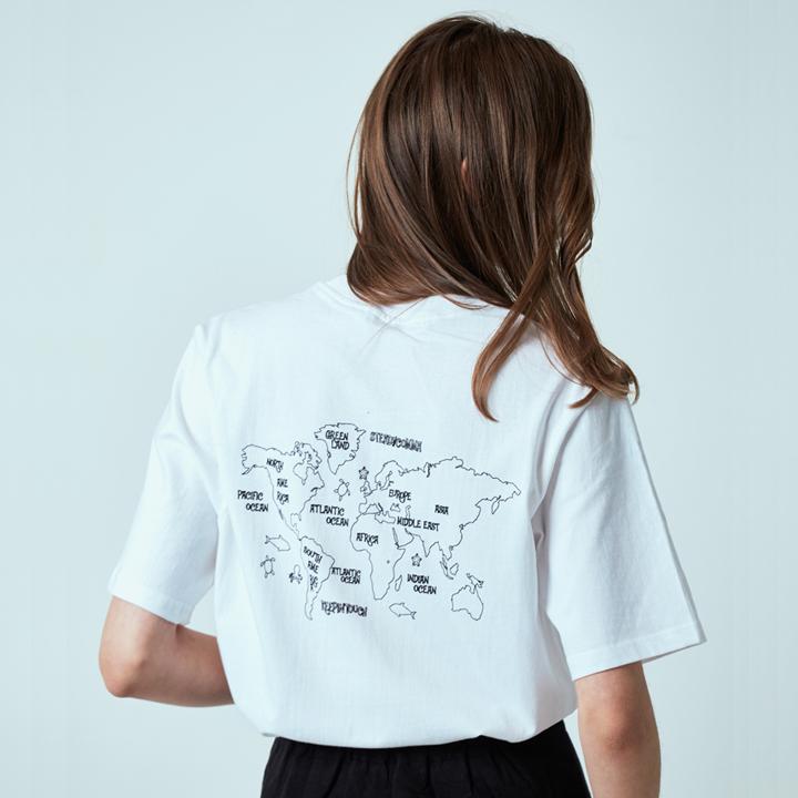 월드맵 프린트 티셔츠 화이트
