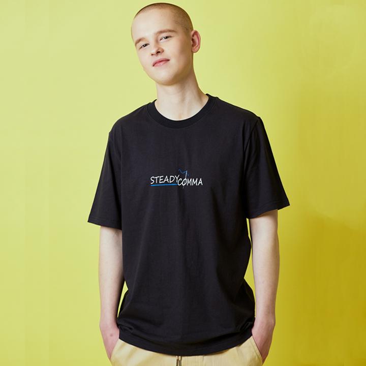 바늘 포인트 로고 티셔츠 네이비