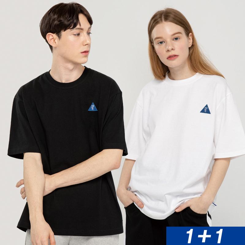 [1+1]  SMALL LOGO COTTON T-SHIRT_white/black [반팔 티셔츠]