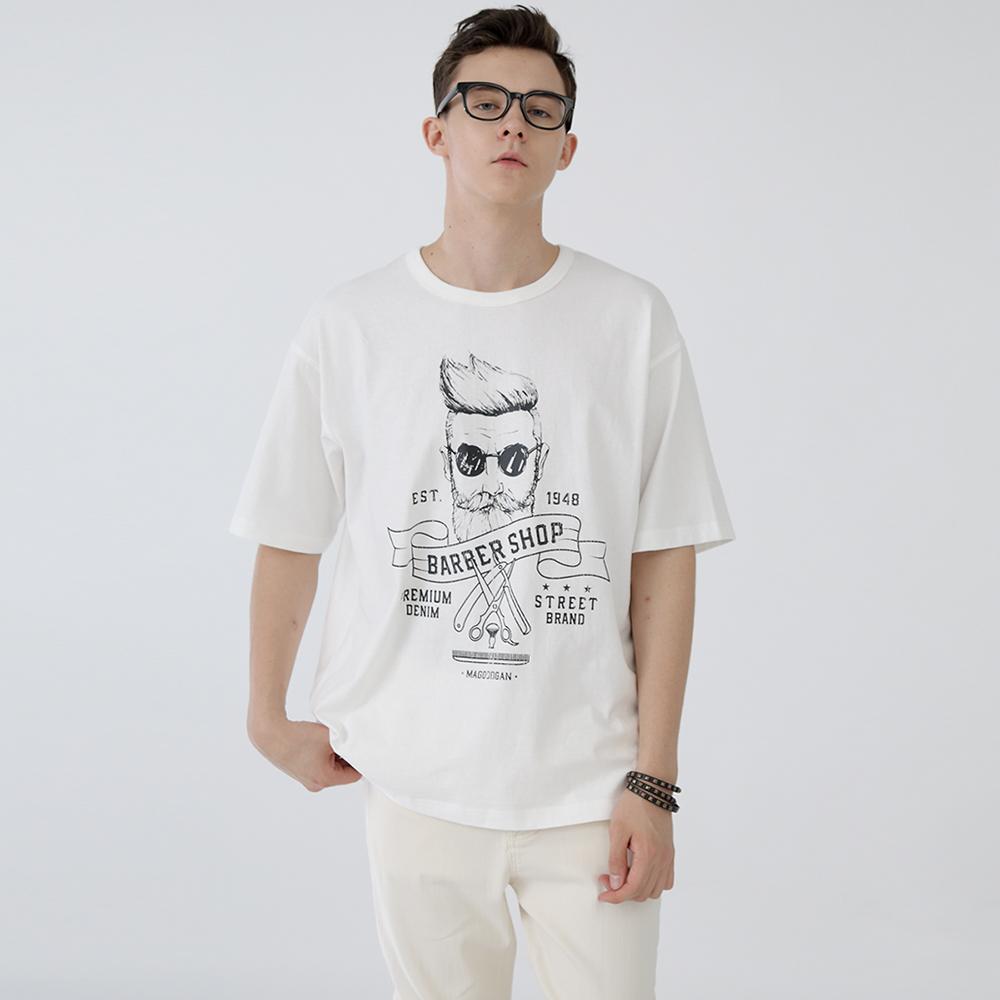 스웩버 3506-바버샵(화이트)__오버핏 티셔츠