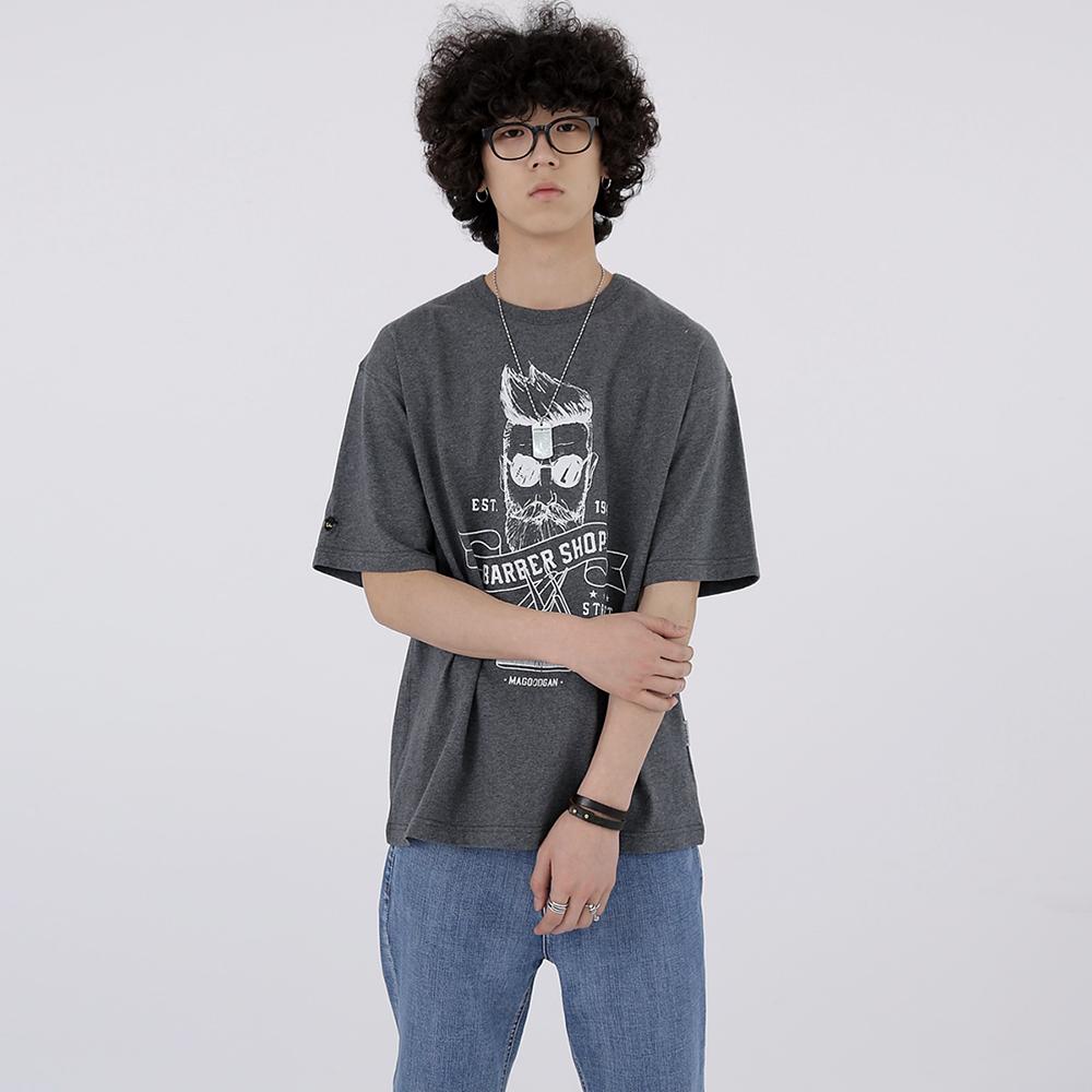 스웩버 3506-바버샵(다크멜란지그레이)_오버핏 티셔츠
