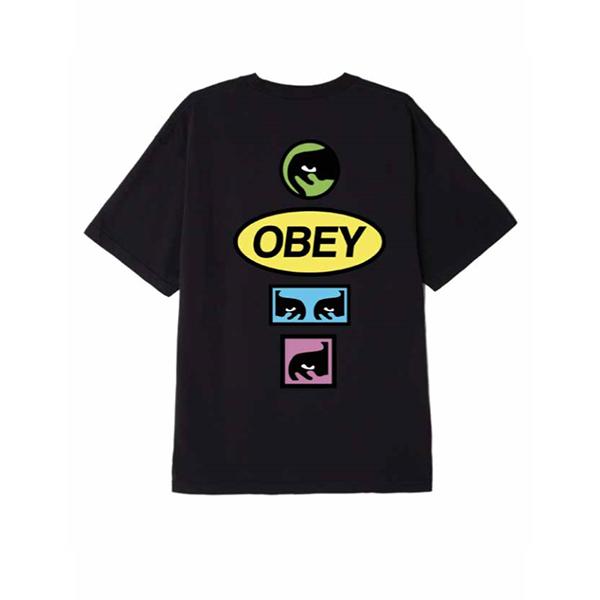 오베이 티셔츠 OBEY STACKED 163081964 BLACK