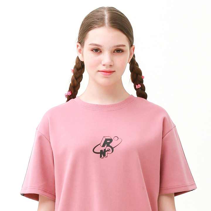 [단독할인]Check track regular fit T-shirts indi pink