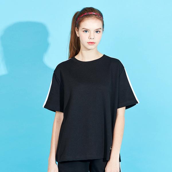 아키클래식 아비아레 라인 반팔 티셔츠 블랙