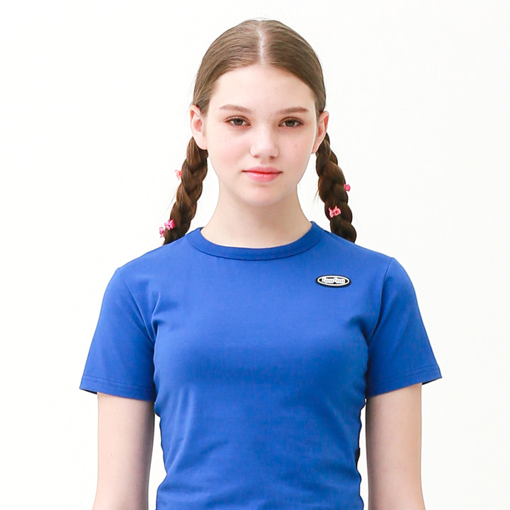 Mini circle logo crop T-shirt blue