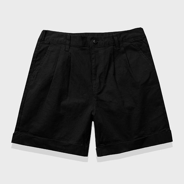 [UNISEX] 스판 베이직 하프팬츠 (블랙)