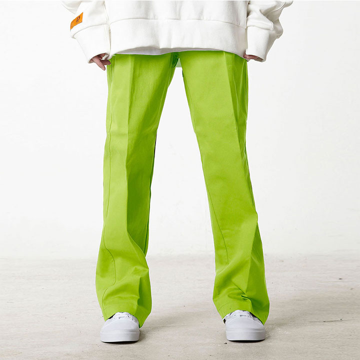 BASIC WIDE EASY PANTS NEON GREEN