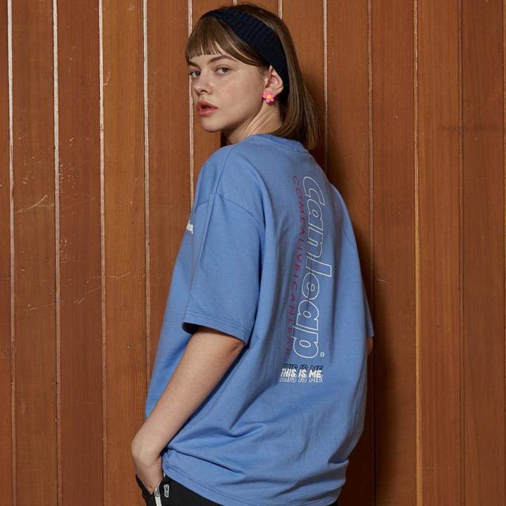 캔리프 LINE LOGO 오버핏 티셔츠_스카이블루