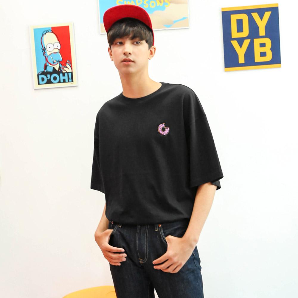 DYBY 심슨 도넛 오버핏 반팔티셔츠 블랙