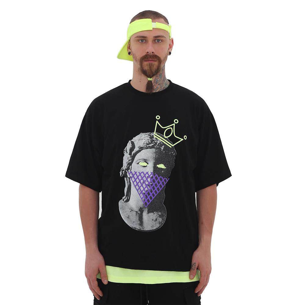 [단독벨트증정]ROCKPSYCHO Apolo Artwork Short-Sleeved Tee- Black / 락사이코 아폴로 아트웍 반팔티-블랙