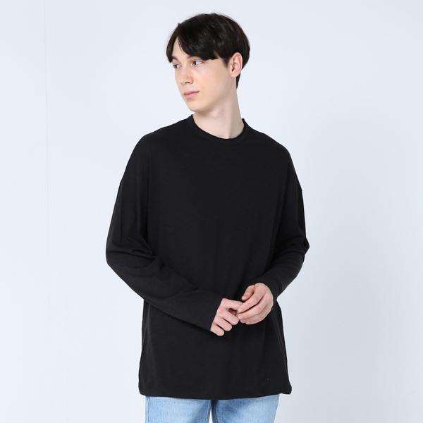 오버핏 슬라브 티셔츠(블랙)