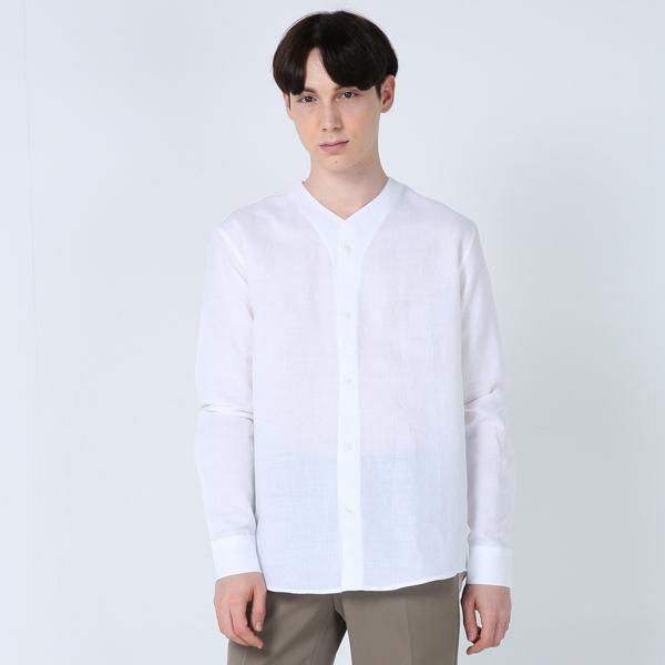 린넨 V넥 셔츠(화이트)