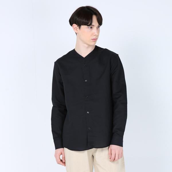 린넨 V넥 셔츠(블랙)