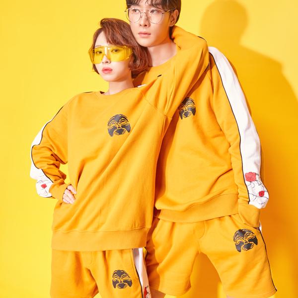 {C} (S/S) AsiHa Korea Newtro 1/2 Pants Mustard