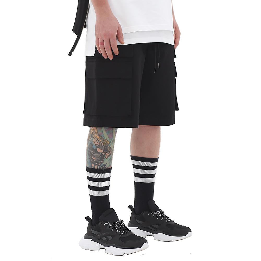 ROCKPSTCHO Double Cargio Short Pant-Black / 더블카고숏팬츠-블랙