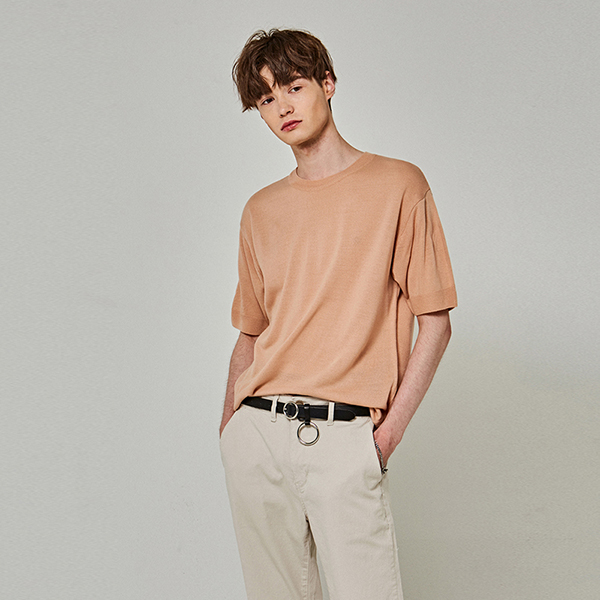SUMMER KNIT HALF T-SHIRTS_PEACH