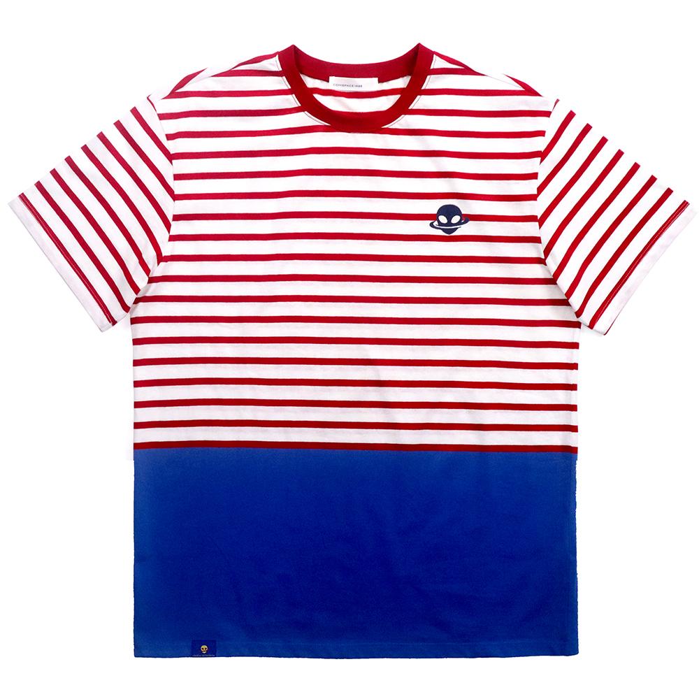 에이티 로고 스트라이프 티셔츠 레드