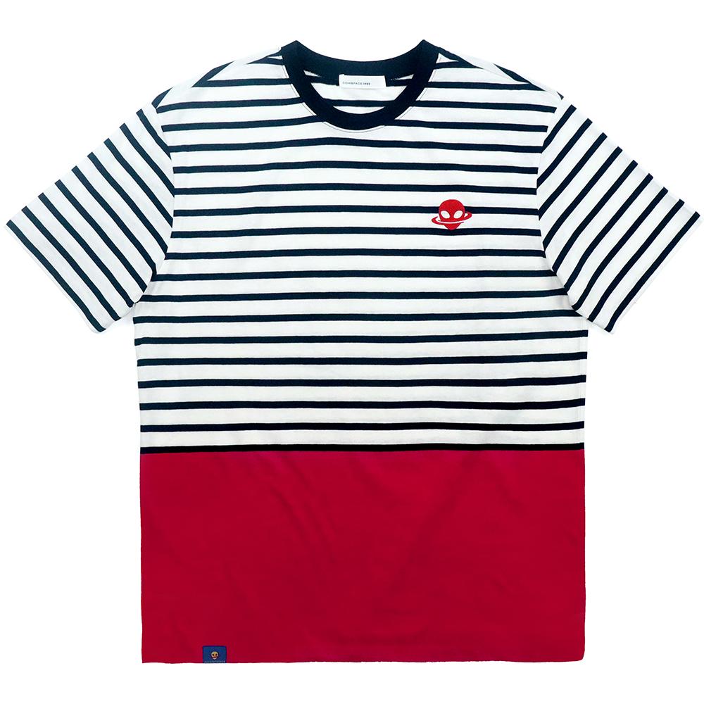 에이티 로고 스트라이프 티셔츠 네이비