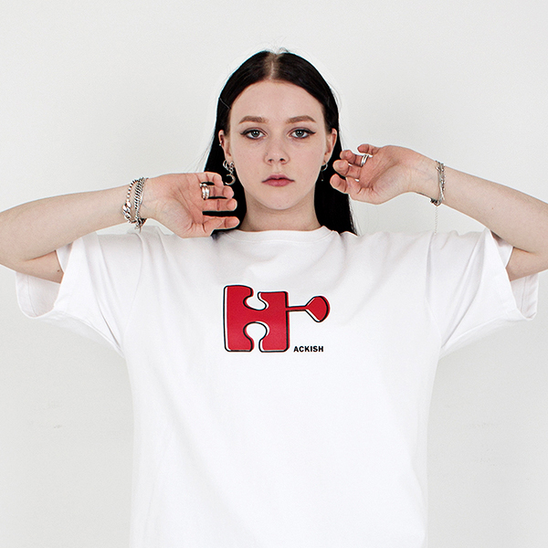 Big emblem logo T-shirt with a round neck white spring/summer 2019