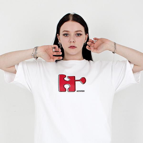 Big emblem logo T-shirt with a round neck white spring/summer 2019