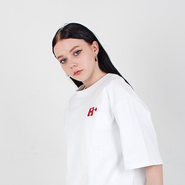 H emblem logo T-shirt with a round neck white spring/summer 2019