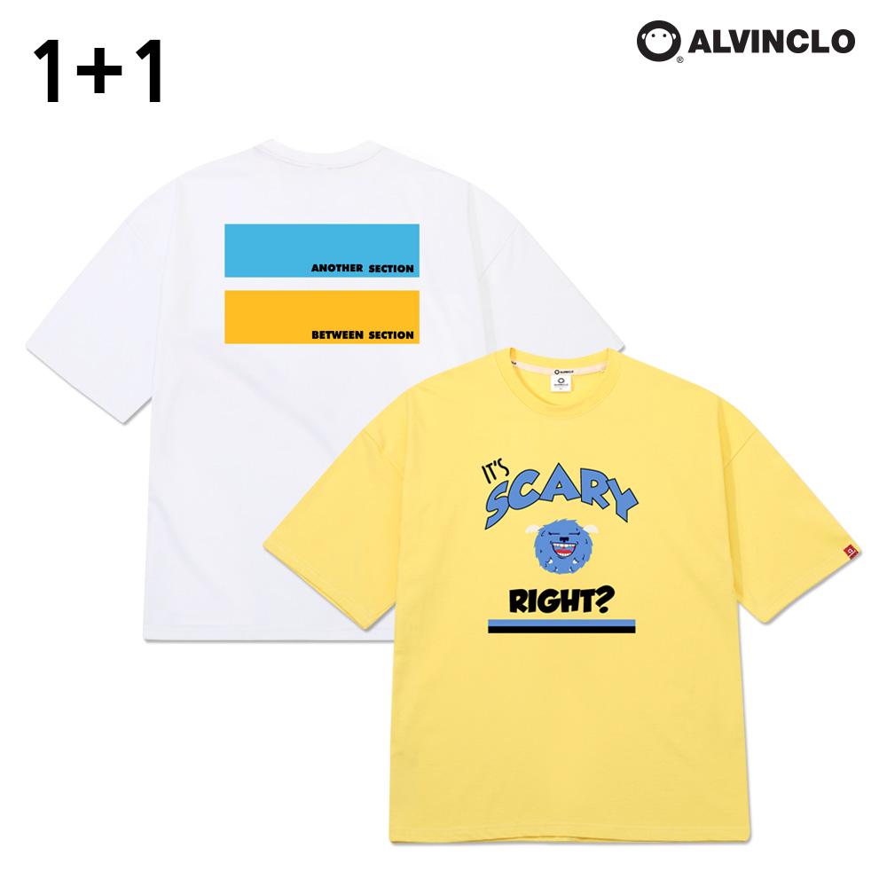 [앨빈클로] [1+1] 그래픽 반팔 티셔츠 패키지
