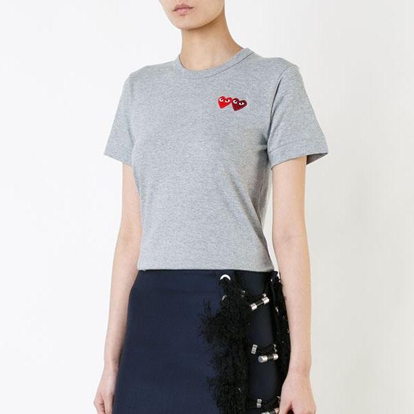 [해외]꼼데가르송 여성 더블 와펜 티셔츠 그레이
