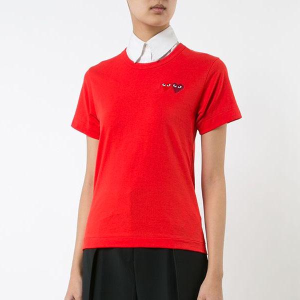 꼼데가르송 여성 더블 와펜 티셔츠 레드