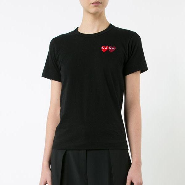꼼데가르송 여성 더블 와펜 티셔츠 블랙