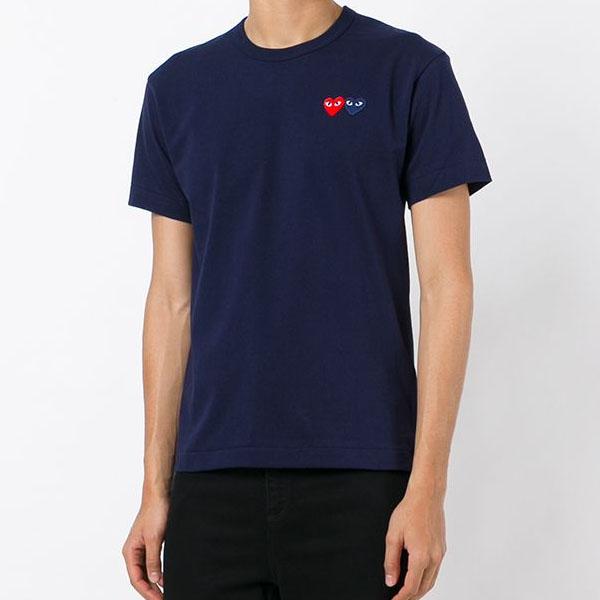 꼼데가르송 더블 와펜 티셔츠 네이비