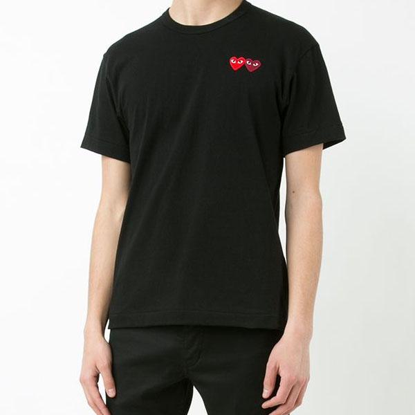 꼼데가르송 더블 와펜 티셔츠 블랙