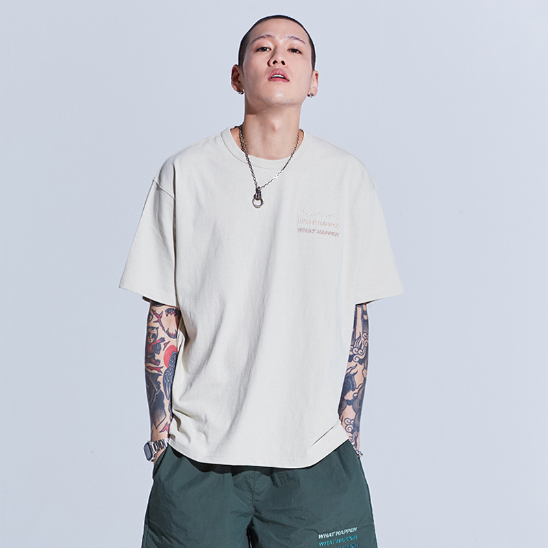 GRADATION EMBROIDERY 1/2 T-SHIRTS (BEIGE)