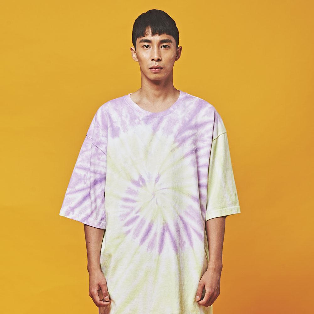 MNC 타이다이 물나염 오버핏 반팔 티셔츠 회오리 퍼플