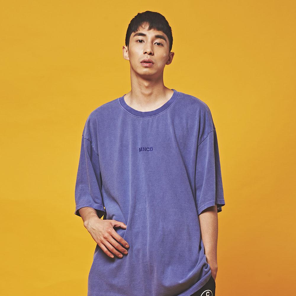 MNC 피그먼트 오버핏 반팔 티셔츠 퍼플