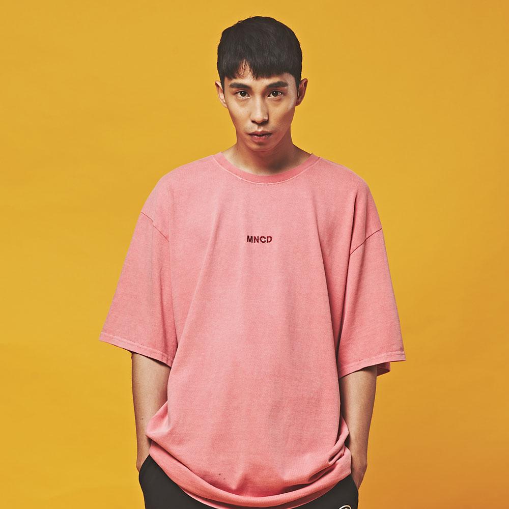 MNC 피그먼트 오버핏 반팔 티셔츠 핑크 야로우
