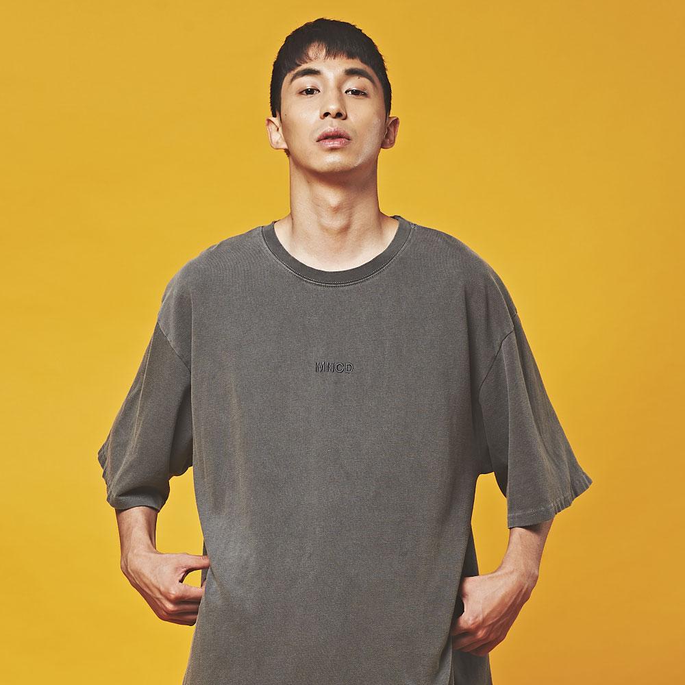 MNC 피그먼트 오버핏 반팔 티셔츠 다크 그레이