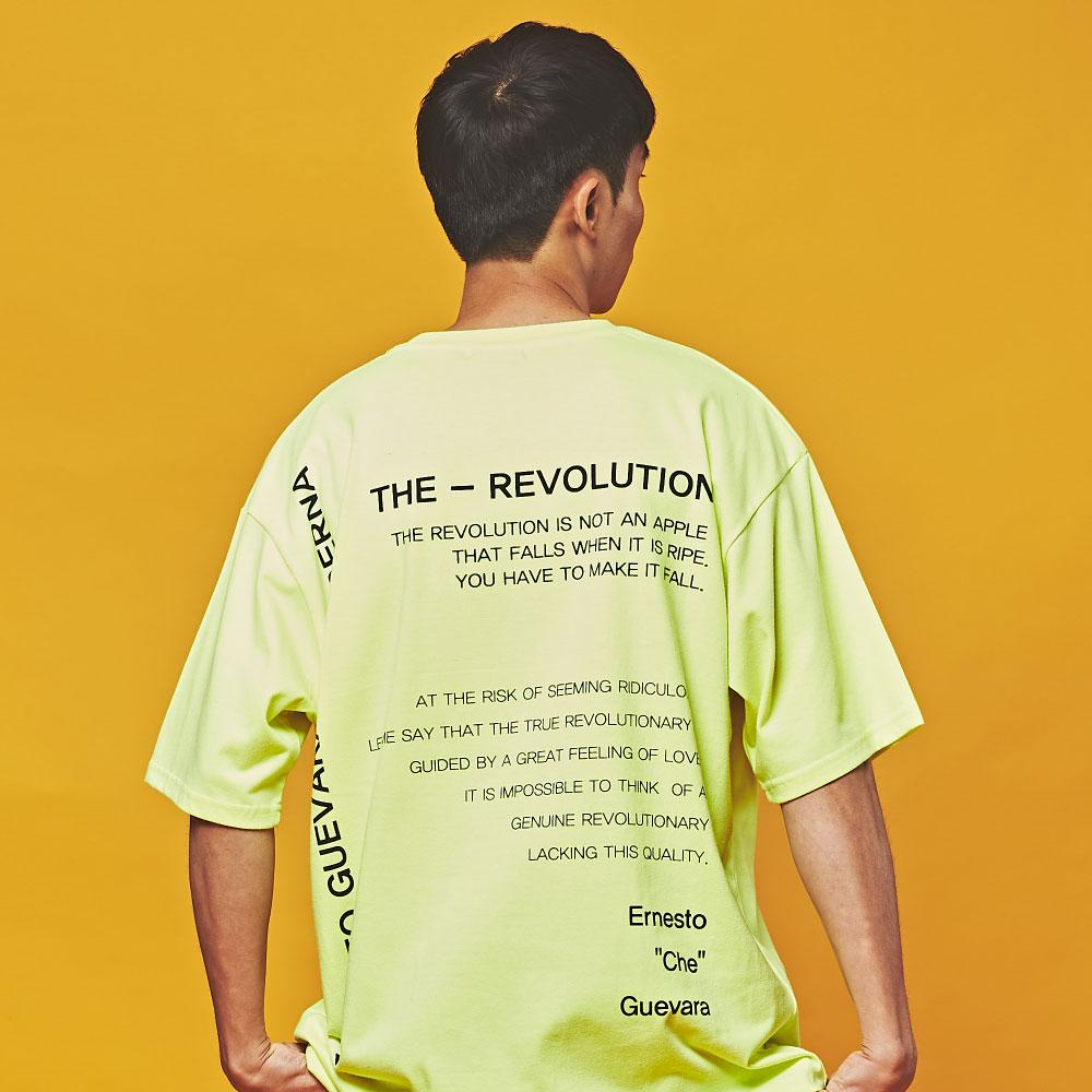 더 레볼루션 오버핏 반팔 티셔츠 네온 라임