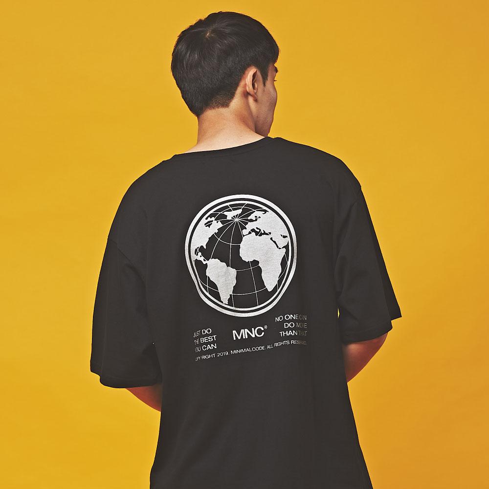 MNC 실버파우더 인터네셔널 오버핏 반팔 티셔츠 블랙