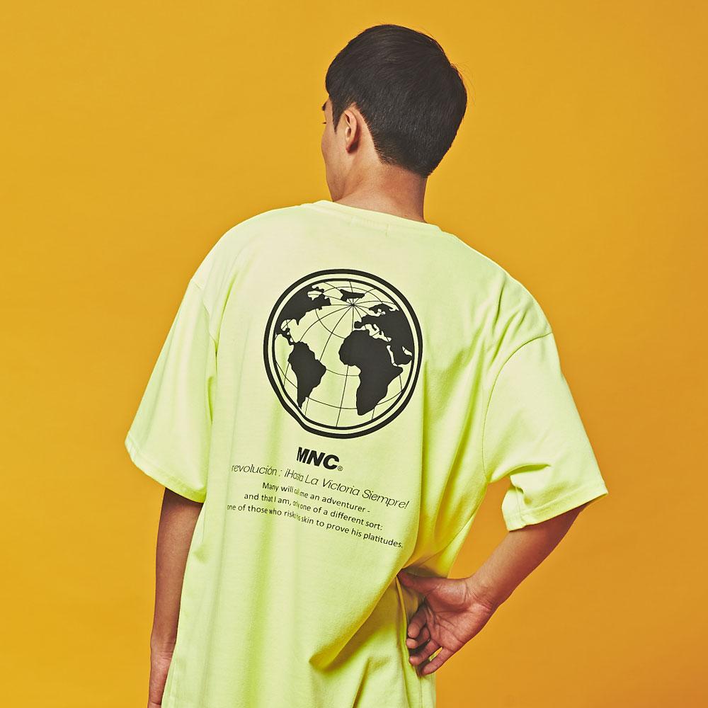 MNC 인터네셔널 오버핏 반팔 티셔츠 네온 라임