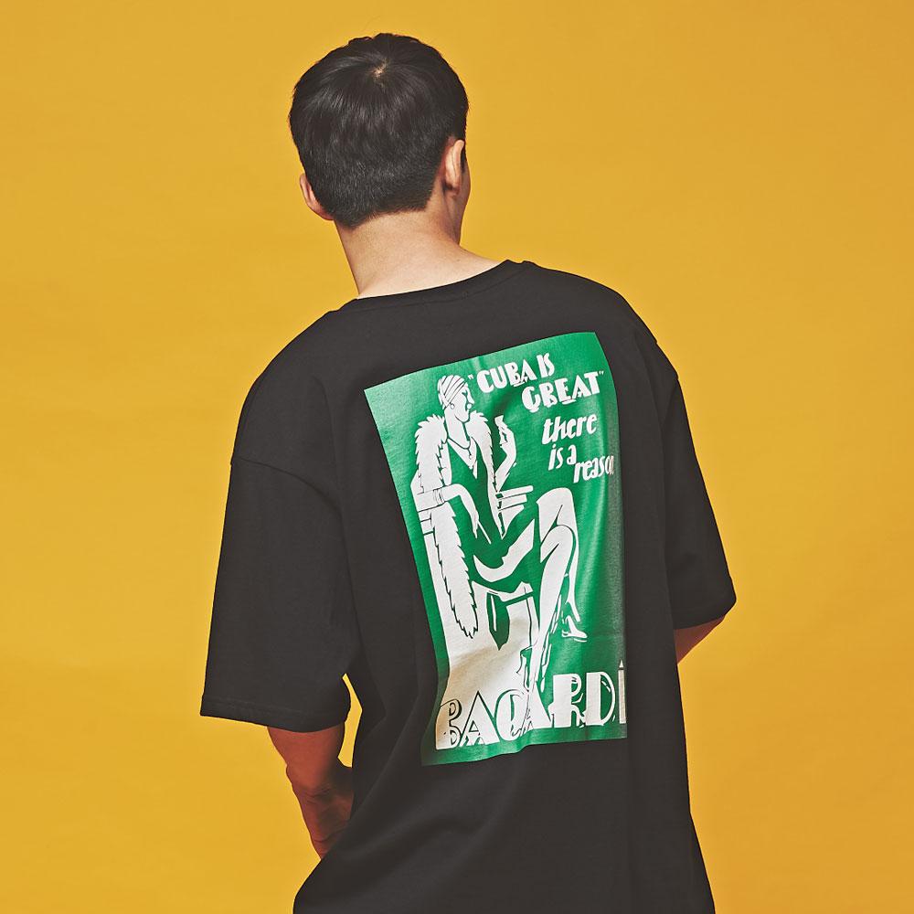 CUBA 오버핏 반팔 티셔츠 블랙