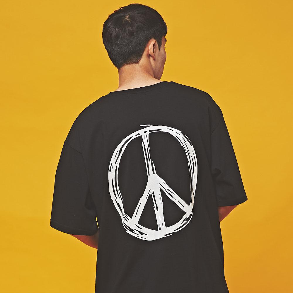 PEACE 오버핏 반팔 티셔츠 블랙