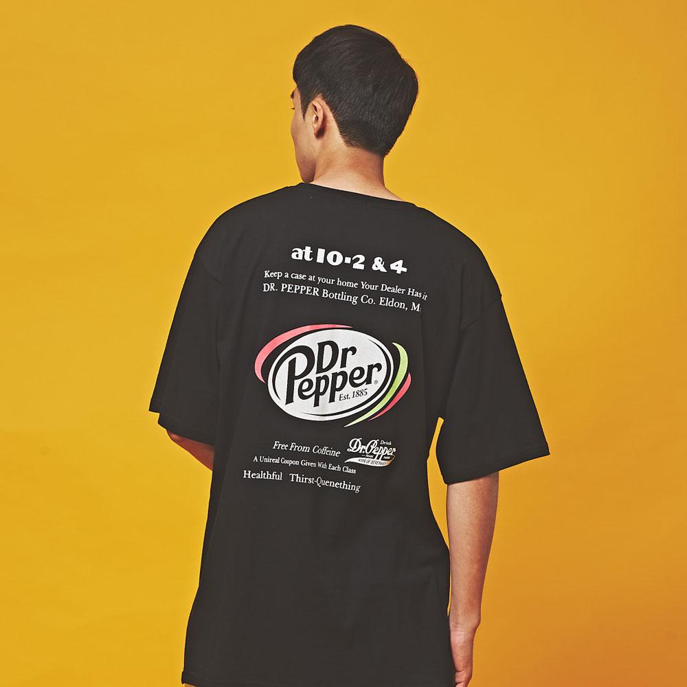 Dr.Pepper 오버핏 반팔 티셔츠 블랙