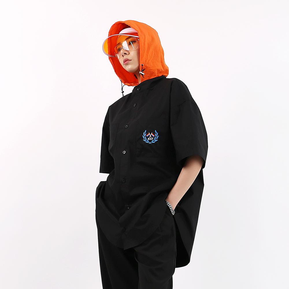 [단독할인]HOODED OVER SHIRTS BLACK